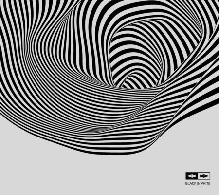 ripply: Black and white background. Pattern with optical illusion. Vector illustration.