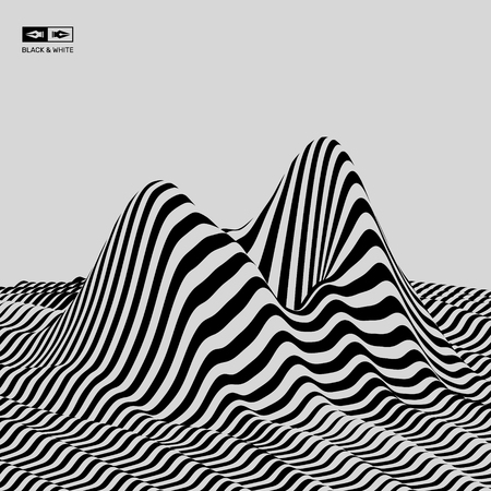 distort: Landscape background. Terrain. Black and white background. Pattern with optical illusion. 3D Vector illustration. Illustration