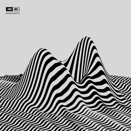 Paisaje de fondo. Terreno. Fondo blanco y negro. Patrón con ilusión óptica. Ilustración del vector 3D.