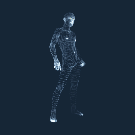 Man Stands on his Feet. 3D Model of Man. Human Body Model. View of Human Body. Vector Graphics Composed of Particles. Illustration