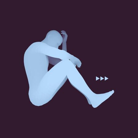 disappoint: Man Thinks about a Problem. Despair, Depression, Hopelessness, Addiction Concept. 3D Model of Man. Vector Illustration.
