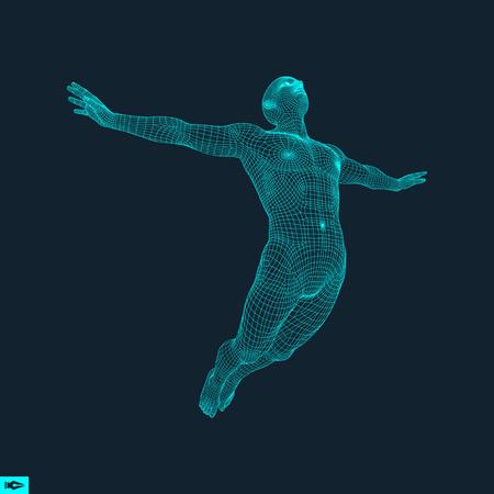 Silueta de un hombre que salta. Modelo 3D del Hombre. Diseño geométrico. Piel que cubre poligonal. Modelo de alambre del cuerpo humano. Ilustración del vector. Ilustración de vector