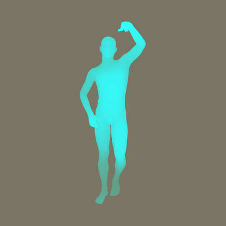 guy standing: Standing Man. 3D Human Body Model. Design Element. Man Stands on his Feet. Vector Illustration.