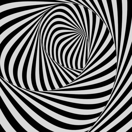 distort: Black and white background. Pattern with optical illusion. Vector illustration.