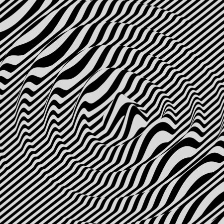 ripply: 3D wavy background. Dynamic effect. Black and white design. Pattern with optical illusion. Vector illustration. Illustration