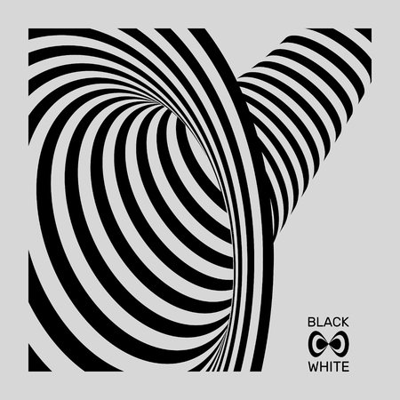 ripply: Tunnel. Optical illusion. Black and white abstract striped background. 3D vector illustration.