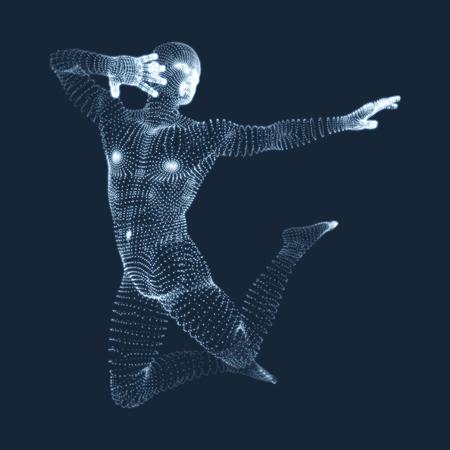 Silhouette of a dancer. 3D Model of man. Sport symbol. Vector Illustration.