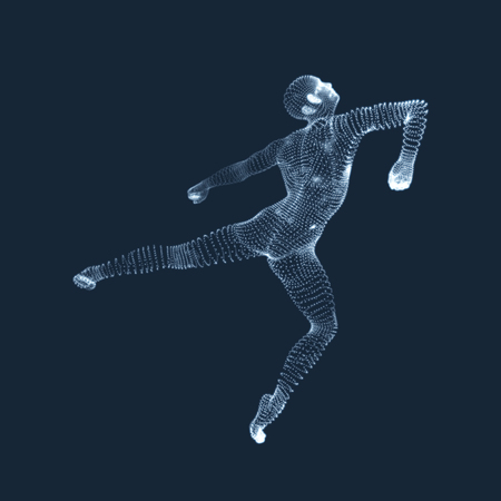 oncept: Man is Posing and Dancing. Silhouette of a Dancer. A Dancer Performs Acrobatic Elements. Sports ?oncept. 3D Model of Man. Human Body. Sport Symbol. Design Element. Vector Illustration.