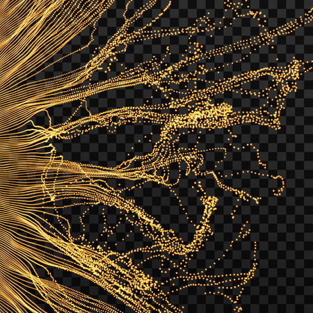 flux: Array with dynamic particles. Wavy background. Composition with motion effect. Abstract vector illustration.