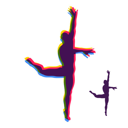 tiptoe: Silhouette of a Dancer. Gymnast. Man is Posing and Dancing. Sport Symbol. Ballerina standing on tiptoe. Design Element. Vector Illustration. Illustration