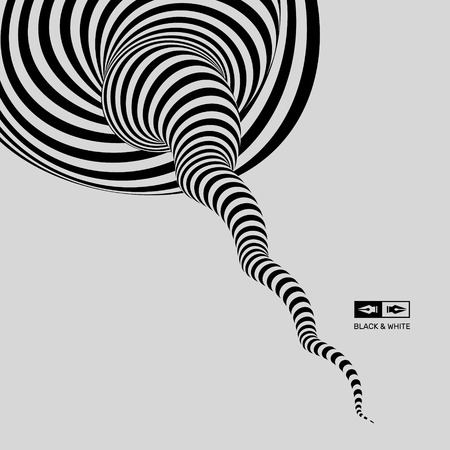 distort: Tunnel. Optical illusion. Black and white abstract striped background. 3D vector illustration.