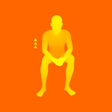 Man in a Thinker Pose. 3D Model of Man. Business, Science, Psychology or Philosophy Vector Illustration. Иллюстрация