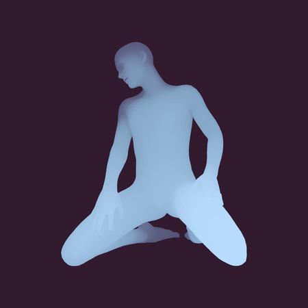 Modelo del cuerpo humano 3D. Hombre arrodillado. Ilustración vectorial.