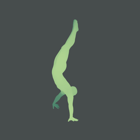 Sporty man doing handstand exercise. Gymnast. 3D human body model. Gymnastics activities for icon health and fitness community. Vector illustration.