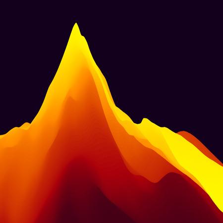 dawning: Mountain Landscape. Mountainous Terrain. Vector Illustration. Abstract Background.