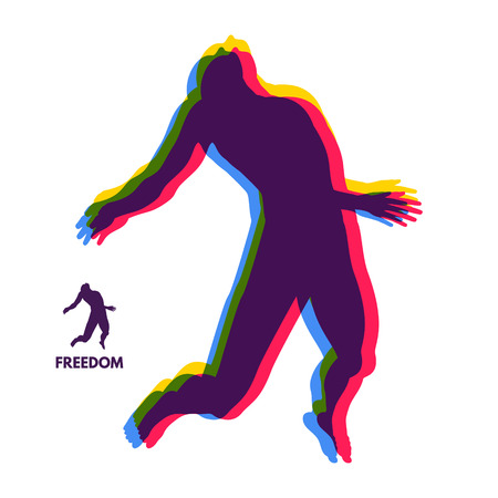 man flying: Silhouette of a jumping man. Freedom concept. Vector Illustration.