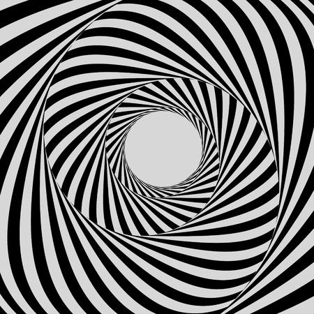 Tunnel. Black and white abstract striped background. Optical art. 3D vector illustration. Illustration