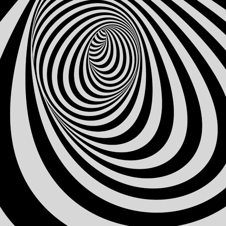distort: Tunnel. Black and white abstract striped background. Optical art. 3D vector illustration. Illustration