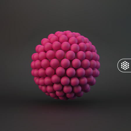 3d abstract spheres composition. Futuristic technology style. Vector illustration for design. Illustration