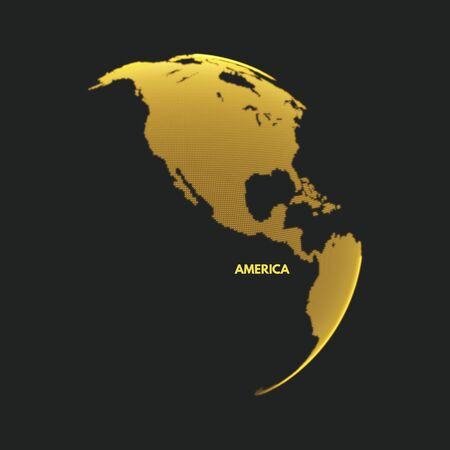 North and South America. Earth globe. Global business marketing concept. Dotted style. Design for education, science, web presentations. Illustration