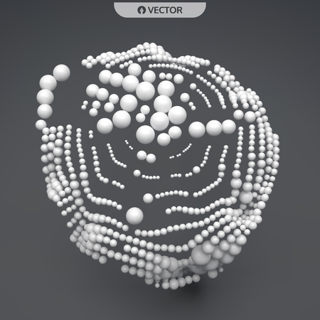 3D sphere composition. Many balls in empty space. Abstract background. Vector illustration. Generative art. Illustration