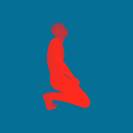Man kneeling and praying to God. 3D Human Body Model. Design Element. Vector Illustration.