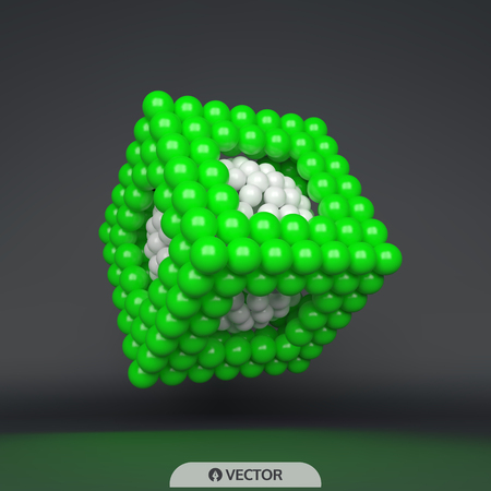 Cube. 3d spheres composition. Concept for science, education and network. Futuristic technology style. Vector illustration.