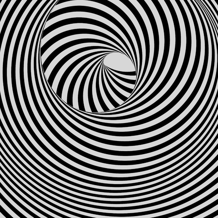 ripply: Tunnel. Black and white abstract striped background. Optical art. 3D vector illustration. Illustration