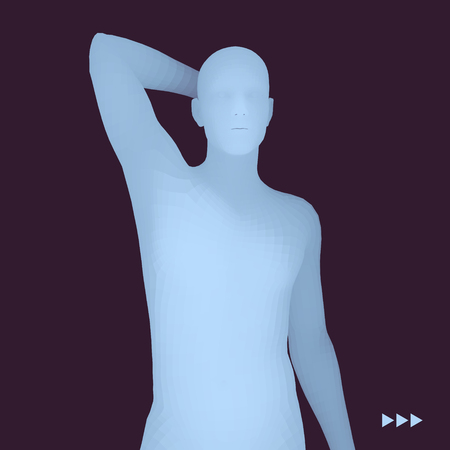 Man in a Thinker Pose. 3D Model of Man. Business, Science, Psychology or Philosophy Vector Illustration. 矢量图像
