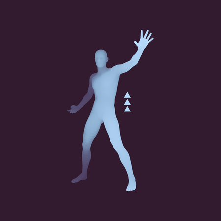 hazard: Vector man with hand up to stop. Human showing stop gesture. 3D model of man. 3D vector illustration.