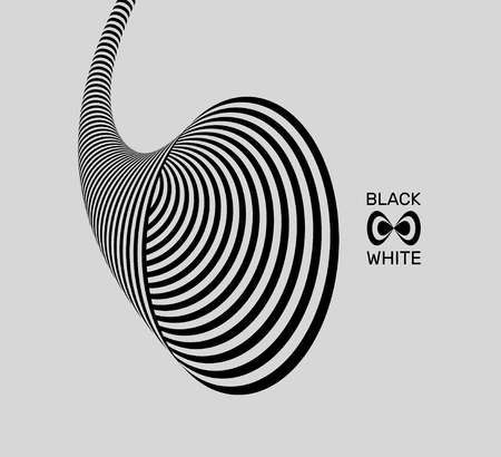 Tunnel. Optical illusion. Black and white abstract striped background. 3D vector illustration.