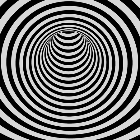wormhole: Tunnel. Black and white abstract striped background. Optical art. 3D vector illustration. Illustration