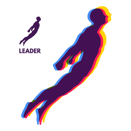 Leadership concept. Personal and Career Growth. Start Up Business Concept. Beginning of Business Ideas. Silhouettes of men. Vector Illustration. Illustration