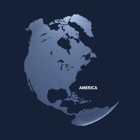 North America. Earth globe. Global business marketing concept. Dotted style. Design for education, science, web presentations.