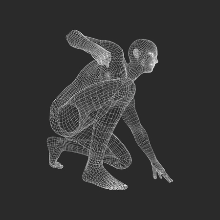 beginnings: Athlete at Starting Position Ready to Start a Race. Runner Ready for Sports Exercise. Human Body Wire Model. Sport Symbol. 3d Vector Illustration.