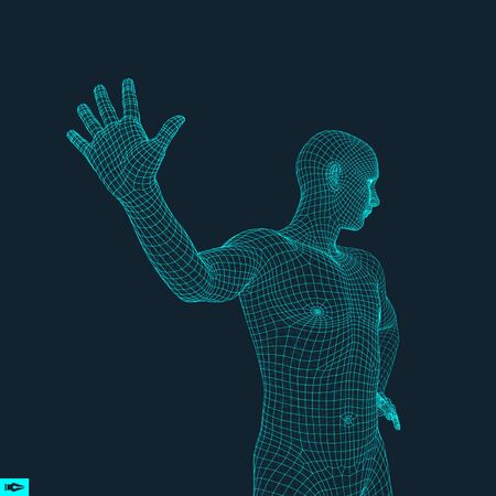 banned: Vector man with hand up to stop. Human showing stop gesture. 3D model of man. 3D vector illustration.