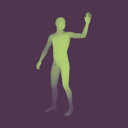 recite: Man presenting something. 3D Human Body Model. Design Element. Man Stands on his Feet. Vector Illustration.