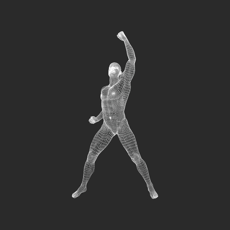 Standing Man. Human with arm up. Silhouette for sport championship. The victory celebration. 3D Model of Man. Vector Illustration.