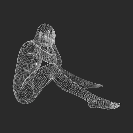 pondering: Miserable Depressed Man Sitting and Thinking. Man in a Thinker Pose. 3D Model of Man. Vector Illustration. Illustration