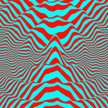 3D wavy background. Dynamic effect. Pattern with optical illusion. Vector illustration. Illustration