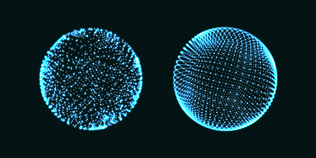 3d Sphere. Global digital connections. Technology concept. Vector illustration. Vektorové ilustrace