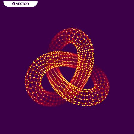 トレフォイルの結び目。接続された直線と点を持つオブジェクトします。3 D グリッド デザイン。分子構造。ベクトルの図。