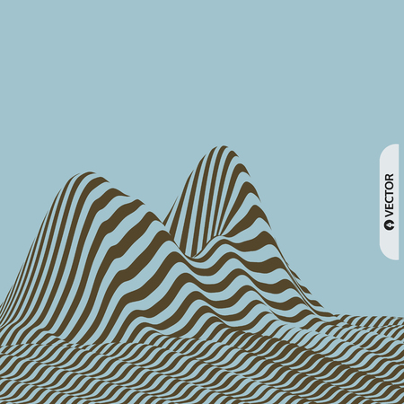 Landscape background. Terrain. Pattern with optical illusion. 3D Vector illustration.