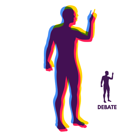 Speaker. Concept of debates, seminar or election. Candidate of party involved in debate. Vector illustration.