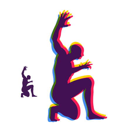 Silhouette of a man standing on his knees. Angry man figure. Vector illustration.