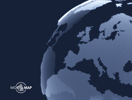 Africa and Europe. Earth globe. Global business marketing concept. Dotted style. Design for education, science, web presentations. Zdjęcie Seryjne - 79750197