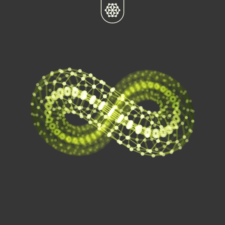 Infinity symbol. 3D design element, emblem, icon. Connection structure. Geometric shape for design. Lattice geometric element. Molecular grid.