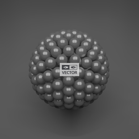 Sphere. 3d abstract spheres composition. Futuristic technology style. Vector illustration for science.