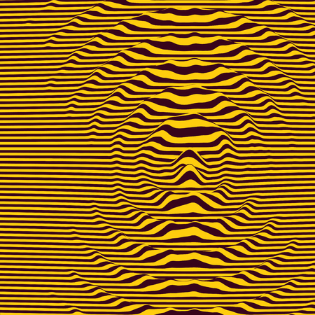 Waveform background. Dynamic visual effect. Surface distortion. Pattern with optical illusion. Vector striped illustration. Sound waves.