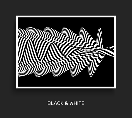 ripply: Black and white abstract striped background. Optical art. Cover design template. 3D Vector illustration. Illustration
